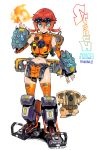 1girl aqua_eyes breasts commentary_request constricted_pupils fingerless_gloves fire full_body gauntlets gloves gun headgear kusada large_breasts looking_at_viewer mecha_musume midriff navel orange_legwear redhead short_hair solo standing thigh-highs titanfall titanfall_2 tsurime weapon