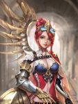1girl armor artist_name asymmetrical_hair asymmetrical_wings belt black_gloves blue_eyes blurry blurry_background breasts cape cleavage deviantart_username earrings fantasy female gauntlets gloves goggles goggles_on_head hair_up heart highres jewelry knight looking_at_viewer mechanical_arm mechanical_wings medium_breasts midriff original parted_lips red_cape redhead sangrde solo standing steampunk watermark web_address wings