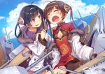 2girls ahoge alter_(pixiv16866883) azur_lane black_hair breasts brown_hair cannons chinese_clothes clouds crying fang hair_ornament headband jacket medium_breasts multiple_girls ning_hai_(azur_lane) ocean open_mouth ping_hai_(azur_lane) siblings sky small_breasts thigh-highs twintails violet_eyes weapon wreckage