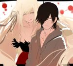 1boy 1girl araragi_koyomi bangs black_hair blonde_hair breasts brown_eyes closed_mouth grey_eyes hair_between_eyes hair_over_one_eye half-closed_eyes hood hoodie isshiki_(ffmania7) kiss-shot_acerola-orion_heart-under-blade kizumonogatari large_breasts long_hair looking_at_viewer monogatari_(series) parted_lips serious sidelocks smile upper_body very_long_hair