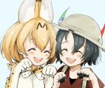2girls :d animal_ears aqua_background backpack bag black_hair blonde_hair blush bow bowtie bucket_hat closed_eyes closed_mouth commentary_request dirty elbow_gloves eyebrows_visible_through_hair gloves hair_between_eyes hat hat_feather highres kaban_(kemono_friends) kemono_friends multiple_girls open_mouth paw_pose red_shirt sako_(user_ndpz5754) serval_(kemono_friends) serval_ears serval_print shirt short_hair simple_background smile white_shirt