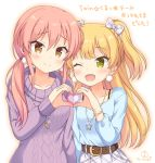 2girls ;d arm_at_side bangs belt_buckle blonde_hair blouse blue_blouse blush bow bra_strap brown_belt buckle closed_mouth collarbone commentary_request earrings eyebrows_visible_through_hair fang green_eyes hair_between_eyes hair_bow heart heart_hands heart_hands_duo heart_necklace idolmaster idolmaster_cinderella_girls idolmaster_cinderella_girls_starlight_stage jewelry jougasaki_mika jougasaki_rika kaiware-san long_hair long_sleeves looking_at_another looking_at_viewer low_twintails multiple_girls necklace one_eye_closed open_mouth pink_hair plaid plaid_bow plaid_skirt pleated_skirt pom_pom_(clothes) purple_sweater ribbed_sweater shoulder-to-shoulder siblings signature simple_background sisters skirt smile star_necklace sweater translation_request tsurime twintails two_side_up very_long_hair white_background white_bow white_skirt yellow_eyes