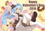 1girl 2016 :d ascot bloomers blue_hair blush bowl brown_footwear checkerboard_cookie child cookie cupcake doughnut english eyebrows_visible_through_hair food hair_between_eyes happy_valentine hat heart high-waist_skirt highres holding loafers long_hair looking_at_viewer matsusatoru_kouji mini_hat mixing_bowl nakanobe_mari number official_art open_mouth outstretched_arm shirt shizuku_no_oto shoes silhouette skirt smile solo thigh-highs underwear valentine very_long_hair whisk white_hat white_legwear white_shirt wrapped_candy wrist_cuffs yellow_background yellow_eyes