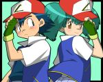 1boy 1girl amada brown_eyes cosplay couple fingerless_gloves gloves green_hair hat imite_(pokemon) pokemon pokemon_(anime) satoshi_(pokemon) satoshi_(pokemon)_(classic) satoshi_(pokemon)_(cosplay)