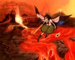 178 arm_cannon black_hair black_sun black_wings bow cape cervus fire hair_bow hell long_hair molten_rock reiuji_utsuho skirt solo third_eye touhou volcano weapon wings