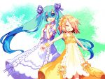 aqua_eyes aqua_hair armband armpits aruya_(flosrota) bad_id bare_shoulders bow bracelet choker closed_eyes dress hair_bow hair_ribbon hairband hatsune_miku headband jewelry kagamine_rin long_hair multiple_girls outstretched_arms ribbon ribbons singing spread_arms twintails very_long_hair vocaloid white_dress yellow_dress