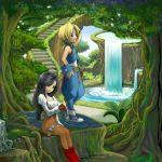 bird bird_on_hand black_hair blonde_hair blue_eyes bodysuit brown_eyes chimachi final_fantasy final_fantasy_ix garnet_til_alexandros_xvii nature smile stairs tail water waterfall zidane_tribal