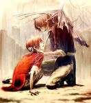 1boy 1girl :d black_pants braid brother_and_sister brown_eyes brown_hair eye_contact gintama grey_pants hair_between_eyes holding holding_umbrella kagura_(gintama) kamui_(gintama) leuco long_hair looking_at_another one_knee open_mouth oriental_umbrella pants ruins short_hair siblings side_braid single_braid smile torn_umbrella umbrella