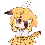 1girl animal_ears batta_(ijigen_debris) blush_stickers bow bowtie brown_eyes closed_mouth commentary covering_face flying_sweatdrops kemono_friends looking_at_viewer peeking_out serval_(kemono_friends) serval_ears serval_print serval_tail simple_background skirt solo tail white_background