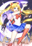 1girl bishoujo_senshi_sailor_moon blonde_hair blue_eyes blue_skirt boots bow bowtie cat double_bun elbow_gloves eyebrows_visible_though_hair floating_hair gloves greetload high_heel_boots high_heels highres knee_boots long_hair luna_(sailor_moon) miniskirt petals pleated_skirt red_bow red_bowtie sailor_moon school_uniform serafuku shiny shiny_clothes shirt short_sleeves skirt solo twintails very_long_hair white_gloves white_shirt