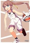 1girl alternate_costume artist_name bare_shoulders basketball basketball_uniform blue_eyes brown_hair commentary floating_fortress_(kantai_collection) full_body hair_ribbon highres kantai_collection kazagumo_(kantai_collection) long_hair open_mouth pepatiku ponytail ribbon shoes sneakers solo sportswear