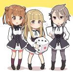 >:) 3girls :d ange_(princess_principal) arms_behind_back bangs beatrice_(princess_principal) black_legwear black_ribbon blonde_hair blue_eyes blunt_bangs blush boots braid brown_eyes brown_footwear brown_hair chibi closed_mouth dice double_bun eyebrows_visible_through_hair full_body fume hair_between_eyes hair_flaps hair_ribbon hand_on_hip high-waist_skirt highres holding holding_paper kneehights loafers long_sleeves looking_at_another maroon_legwear merry_(168cm) multiple_girls neck_ribbon open_mouth pantyhose paper princess_(princess_principal) princess_principal ribbon school_uniform shirt shoes skirt smile standing white_background white_shirt