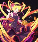 1girl artist_request blonde_hair candy dress drill_hair fang food hair_ribbon halloween highres house long_hair monogatari_(series) night night_sky oshino_shinobu pointy_ears pumpkin ribbon sky tree twintails very_long_hair yellow_eyes