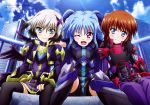 3girls ;d absurdres black_hair black_legwear black_wings blue_eyes blue_hair blush brown_hair cropped_jacket fang fingerless_gloves gloves hair_ornament highres hug jacket juliet_sleeves long_hair long_sleeves looking_at_viewer lyrical_nanoha magazine_scan mahou_shoujo_lyrical_nanoha mahou_shoujo_lyrical_nanoha_the_movie_3rd:_reflection material-d material-l material-s multicolored_hair multiple_girls multiple_wings official_art one_eye_closed open_mouth puffy_sleeves scan shiny shiny_hair short_hair sidelocks silver_hair sitting smile thigh-highs twintails two-tone_hair violet_eyes wings x_hair_ornament