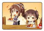 10s 2girls :d artist_name ashigara_(kantai_collection) brown_eyes brown_hair commentary_request eating fang hair_between_eyes hairband holding holding_spoon horned_headwear japanese_clothes kaga_(kantai_collection) kantai_collection long_hair long_sleeves multiple_girls musical_note open_mouth quaver short_hair side_ponytail smile sparkle spoon taisa_(kari) tasuki white_hairband
