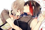 2girls aoba_moka arm_under_breasts armpit_peek bang_dream! bangs bed_sheet black_choker black_hair bob_cut choker closed_eyes clothes_writing collarbone earphones grey_choker hand_up lying mitake_ran multicolored_hair multiple_girls on_back on_side parted_lips petals redhead rose_petals shared_earphones shi_noyuki shirt short_hair short_sleeves sleeping sleeveless sleeveless_shirt spaghetti_strap streaked_hair suspenders turtleneck twitter_username yuri