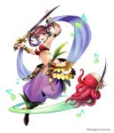 1girl armlet arms_up bell bracer copyright dancer_(sekaiju) full_body hair_bell hair_ornament harem_outfit harem_pants holding holding_sword holding_weapon long_hair looking_at_viewer musical_note octopus official_art open_mouth pants redhead sekaiju_no_meikyuu simple_background solo sword violet_eyes weapon white_background