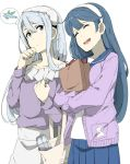 2girls ^_^ ^o^ alternate_costume black_hair blue_sailor_collar blue_skirt closed_eyes food grey_eyes hair_between_eyes hairband jacket kantai_collection long_hair long_sleeves multiple_girls ninimo_nimo open_mouth pleated_skirt purple_jacket sagiri_(kantai_collection) sailor_collar silver_hair simple_background skirt smile sweet_potato ushio_(kantai_collection) white_background white_hairband