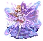 2girls :d ahoge asuna_(sao) breastplate brown_eyes brown_hair detached_sleeves feathers floating_hair headband holding holding_sword holding_weapon long_hair looking_at_viewer miniskirt multiple_girls open_mouth pleated_skirt pointy_ears purple_hair red_eyes red_skirt simple_background skirt smile sword sword_art_online thigh-highs very_long_hair weapon white_background white_legwear yuuki_(sao)