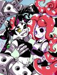 +_+ 2girls ;d aori_(splatoon) arm_up armband armor artist_name belt bike_shorts black_hair black_sclera blue_background blurry blurry_foreground cosplay crossed_arms depth_of_field domino_mask earrings elbow_gloves fangs fingerless_gloves food food_on_head gloves green_eyes hand_on_hip head_tilt heterochromia highres holding jewelry long_hair looking_at_viewer mask mechanical_tentacles midriff mole mole_under_eye multiple_girls navel object_on_head one_eye_closed open_mouth pancake pancake_(zoza) partially_colored pointy_ears redhead shirt signature sleeveless sleeveless_shirt smile splatoon splatoon_2 standing sunglasses sushi takozonesu takozonesu_(cosplay) tattoo tentacle_hair upper_body very_long_hair yellow_eyes zoza