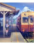 1girl arm_up bag blue_sky brown_hair clouds commentary_request daito day food ground_vehicle highres holding holding_food kneehighs loafers long_hair original outdoors pleated_skirt ponytail popsicle railroad_tracks real_world_location school_bag school_uniform shadow shirt shoes short_sleeves skirt sky solo_focus standing sunlight train train_station waving white_shirt