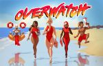 2boys 3girls ana_(overwatch) baywatch beach blue_sky dark_skin eyepatch floating hood innertube jumping kathryn_layno lifeguard looking_at_viewer lucio_(overwatch) mechanical_arm megaphone mercy_(overwatch) multiple_boys multiple_girls ocean one-piece_swimsuit overwatch parody robot running sky smile swimsuit symmetra_(overwatch) tattoo title_parody wetsuit zenyatta_(overwatch)