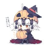 1girl ahoge armor beni_shake brown_eyes cape chibi eyebrows_visible_through_hair fate/grand_order fate_(series) fur_trim halloween hat headgear jack-o'-lantern jeanne_alter looking_down lowres pumpkin ruler_(fate/apocrypha) short_hair tagme white_background white_hair witch_hat