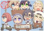 6+girls :d ;o amagiri_(kantai_collection) ark_royal_(kantai_collection) artist_name asymmetrical_bangs bangs beret blonde_hair blue_bow blue_eyes blue_hairband blunt_bangs bob_cut bow brown_eyes commentary furisode glasses grey_hair ground_vehicle hair_between_eyes hair_ribbon hairband hat hatakaze_(kantai_collection) japanese_clothes kantai_collection kimono long_hair long_sleeves luigi_torelli_(kantai_collection) matsuwa_(kantai_collection) meiji_schoolgirl_uniform motor_vehicle motorcycle multiple_girls one_eye_closed open_mouth pepatiku ponytail red_ribbon redhead ribbon richelieu_(kantai_collection) sagiri_(kantai_collection) school_uniform scooter serafuku short_hair short_sleeves smile swept_bangs tiara very_long_hair violet_eyes yellow_eyes