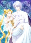 1boy 1girl bishoujo_senshi_sailor_moon blonde_hair breasts brown_eyes cape carrying cleavage closed_eyes collarbone dress earrings eyebrows_visible_though_hair jewelry long_hair medium_breasts mizuha_(aqua_no_hane) pants parted_lips prince_demande princess_carry princess_serenity shirt short_hair silver_hair sleeveless sleeveless_dress strapless strapless_dress twintails very_long_hair white_dress white_pants white_shirt