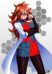 1girl android android_21 big_hair black-framed_eyewear black_legwear black_nails blue_eyes breasts brown_hair curly_hair dragon_ball dragon_ball_fighterz dress earrings female glasses hoop_earrings jadenkaiba jewelry labcoat large_breasts long_hair looking_at_viewer medium_breasts multicolored_clothes multicolored_dress nail_polish pantyhose redhead solo thighs