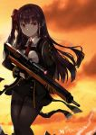 1girl bangs black_gloves black_legwear blush breasts brown_hair bullpup closed_mouth cropped_jacket double-breasted evening eyebrows_visible_through_hair girls_frontline gloves gun hair_ribbon high-waist_skirt holding holding_gun holding_weapon long_hair long_sleeves looking_at_viewer lunacats medium_breasts necktie one_side_up outdoors pantyhose red_necktie red_ribbon ribbon rifle scope sidelocks skirt sniper_rifle solo thighband_pantyhose thighs trigger_discipline violet_eyes wa2000_(girls_frontline) walther walther_wa_2000 weapon