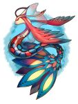 blue_background colorful fins from_side mega_pokemon milotic no_humans original pokemon pokemon_(creature) profile rakkou red_eyes scales solo