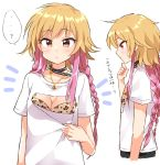 ... 1girl ? blonde_hair braid brown_eyes collar collarbone commentary_request eyebrows_visible_through_hair flat_chest from_side hand_on_own_chin idolmaster japanese jewelry long_hair looking_at_viewer mio_(mgr300) multicolored_hair multiple_views necklace ninomiya_asuka optical_illusion pink_hair shirt speech_bubble spoken_ellipsis spoken_question_mark sweatdrop t-shirt translated twin_braids two-tone_hair upper_body