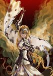 1girl absurdly_long_hair absurdres armor armored_dress artist_request blue_eyes braid chains cross embers fate/apocrypha fate_(series) hand_on_own_chest headpiece highres long_braid long_hair painterly ruler_(fate/apocrypha) single_braid smoke solo standard_bearer very_long_hair