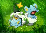 baby closed_eyes commentary egg eggshell fallen_down fang grass hatching light_particles no_humans pokemon pokemon_(creature) shinx signature tamarinfrog uvula watermark web_address yawning