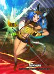 1girl animal_ears aym blue_hair boots cat_tail claws copyright_name electricity feathers force_of_will gloves headband long_hair official_art open_mouth rock solo sword tail tattoo teeth twintails violet_eyes weapon
