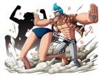 1boy blue_hair blue_swimsuit bodskih chains collarbone franky one_piece open_clothes open_mouth open_shirt outstretched_arms red_shirt shirt short_sleeves solo steam sunglasses swimsuit swimwear transparent_background