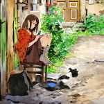 1girl black_eyes book brown_hair brown_skirt checkered_jacket closed_eyes commentary_request day dog door flower grass grey_legwear highres house jacket no_shoes open_book outdoors plant profile reading road sitting skirt smile solo stool street umishima_senbon