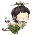 10s 1girl aircraft airplane alcohol brown_hair chibi cup drinking_glass fairy_(kantai_collection) folded_ponytail full_body gloves grey_gloves hakama headphones holding_glass japanese_clothes kantai_collection kasuga_maru_(kantai_collection) open_mouth remodel_(kantai_collection) single_glove smile solid_oval_eyes solo taiyou_(kantai_collection) triangle_mouth wine wine_glass yamashiki_(orca_buteo)