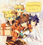 1girl 3boys angel_wings aqua_eyes belt birthday blonde_hair blue_eyes bound brother_and_sister brown_hair carrying clenched_teeth cosplay crossover crypton_future_media dark_pit dual_persona gift hair_ornament hairclip hand_to_own_mouth happy_birthday headphones kagamine_len kagamine_len_(cosplay) kagamine_rin kagamine_rin_(cosplay) kid_icarus kid_icarus_uprising nintendo open_mouth orange_ribbon pit_(kid_icarus) purple_hair red_eyes ribbon sailor_collar sega shorts shoulder_carry siblings smile star teeth twins vocaloid wings wusagi2 yamaha_(company) zoom_layer