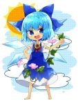 1girl barefoot blue_dress blue_eyes blue_hair bow chibi cirno clouds dress flower hair_bow hidden_star_in_four_seasons ice ice_wings looking_at_viewer nikorashi-ka open_mouth plant puffy_sleeves ribbon short_hair short_sleeves simple_background smile summer sun sunflower tan tanned_cirno touhou vines wings