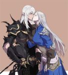 1boy 1girl armor beige_background blue_dress breastplate brown_eyes byuub closed_eyes couple cowboy_shot dress elf estinien final_fantasy final_fantasy_xiv fingerless_gloves gauntlets gloves grey_hair hair_between_eyes headwear_removed height_difference helmet helmet_removed holding holding_helmet kiss long_hair long_sleeves looking_at_another pauldrons pointy_ears scale_armor simple_background standing white_hair ysayle