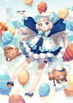 1girl :d ahoge balloon bangs bloomers blue_bow blue_dress blue_eyes blue_footwear blue_neckwear blush bobby_socks bow bowtie brooch commentary_request dress flat_cap frills grey_hair hair_bow hair_ornament hat heart heart_print highres holding_balloon ichiren_namiro jewelry long_hair long_legs long_sleeves looking_at_viewer mini_wings open_mouth original outstretched_arms pixiv-tan polka_dot polka_dot_dress puffy_long_sleeves puffy_sleeves red_bow shoes sign smile socks solo sparkle spread_arms star star_print stuffed_animal stuffed_toy stylus teddy_bear underwear very_long_hair white_bloomers white_hat white_legwear x_hair_ornament yellow_bow