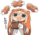 1girl bangs blonde_hair boned_meat brown_eyes commentary_request doma_umaru dress drooling food food_request himouto!_umaru-chan holding holding_food kanikama komaru long_hair long_sleeves looking_up lowres meat open_mouth simple_background solo sweatdrop trembling white_background white_dress