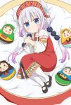 1girl absurdres alternate_costume bangs beads blue_eyes blunt_bangs child doll dragon_girl dragon_horns eyebrows_visible_through_hair gradient_hair hair_beads hair_ornament hairband highres horns kanna_kamui kobayashi-san_chi_no_maidragon lavender_hair long_hair low_twintails matryoshka_doll multicolored_hair pink_hair russian_clothes sarafan screencap stitched twintails