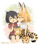 2girls animal_ears black_hair blush chips closed_eyes duck_face eating elbow_gloves food fur_collar gloves high-waist_skirt kaban_(kemono_friends) kemono_friends multiple_girls orange_hair panzuban potato_chips print_bowtie print_gloves print_legwear print_skirt red_shirt serval_(kemono_friends) serval_ears serval_print serval_tail shirt short_hair shorts skirt sleeveless sleeveless_shirt striped_tail tail twitter_username