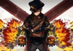 1boy alternate_costume baggy_pants bakugou_katsuki blonde_hair blurry boku_no_hero_academia cowboy_shot depth_of_field explosion explosive fang fire gauntlets gloves grenade hat_over_one_eye looking_at_viewer military military_uniform pants red_eyes short_sleeves smile spiky_hair teeth uniform yukibi_(ykb)