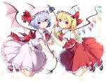 2girls ascot bangs bat_wings black_footwear blonde_hair blue_hair bow brooch closed_mouth commentary_request crystal eyebrows_visible_through_hair flandre_scarlet frilled_ascot frilled_shirt frilled_shirt_collar frilled_skirt frilled_sleeves frills full_body glowing glowing_petals hair_between_eyes hat hat_ribbon head_tilt holding jewelry laevatein looking_at_viewer looking_to_the_side medium_skirt mob_cap multiple_girls parted_lips petals pink_hat puffy_short_sleeves puffy_sleeves red_ascot red_bow red_eyes red_ribbon red_skirt red_vest reimin remilia_scarlet ribbon shiny shiny_hair shirt shoe_bow shoes short_hair short_sleeves side_ponytail simple_background skirt skirt_set smile socks touhou vest white_background white_hat white_legwear white_shirt white_shoes white_skirt wings wrist_cuffs yellow_ascot