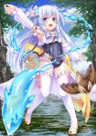 1girl :d arm_up baikamo_(flower_knight_girl) bird blue_eyes bow covered_navel crop_top detached_sleeves fish flower flower_knight_girl frilled_legwear full_body hair_bow hair_flower hair_ornament hydrokinesis jug long_hair looking_at_viewer multicolored_bow open_mouth school_swimsuit silver_hair smile solo standing swimsuit thigh-highs tree twitter_username two_side_up umarutsufuri water white_legwear