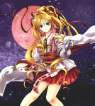 1girl absurdres blonde_hair bow chess_piece closed_mouth cropped_legs cross earrings full_moon ginnan gloves hair_bow hair_intakes highres holding jewelry kaitou_jeanne kamikaze_kaitou_jeanne kusakabe_maron long_hair looking_at_viewer magical_girl moon pleated_skirt ponytail red_bow red_eyes red_moon red_skirt skirt smile solo white_gloves
